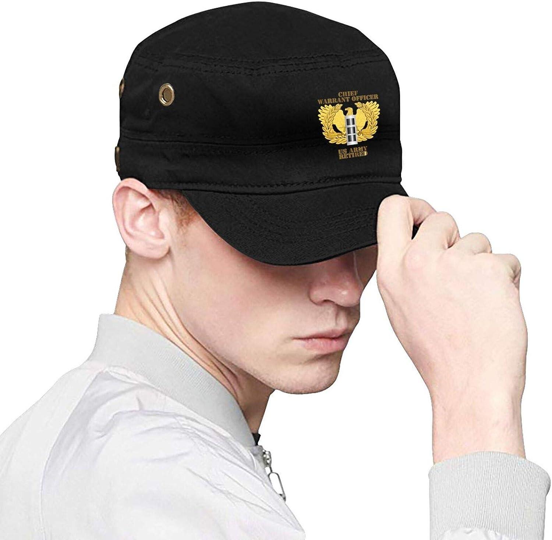 GUANGZHOUHONGYUAN Us Army Retired Chief Warrant Officer Emblem Cw3 Men & Women Cap Fashion Flat Cap Adjustable Bend Brim Hat