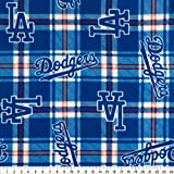 Fabric Traditions 0337365 MLB Fleece Los Angeles Dodgers Plaid Blue Fabric by the Yard