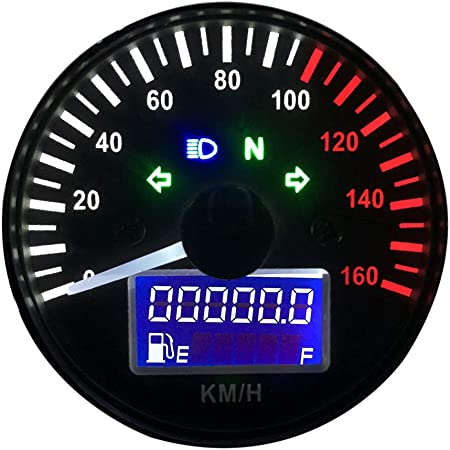 Kkmoon 12v Motorrad Tacho Led Digital Drehzahlmesser Kilometerzähler Tachometer Liquaid Kristall Instrument Gauge 0 160km H Auto