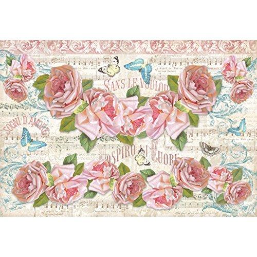 Stamperia–Carta di riso Stamperia fiori musica e rose–28gr/m2