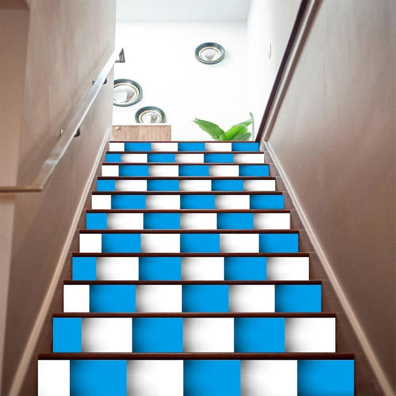 TIEZHI 3D Treppen Treppen Treppen Aufkleber DIY Blau und weiß Mosaik Kreativ Kombination Tapete Zuhause Nursery Dekorationen Sicherheit Selbstklebend PVC Wandaufkleber Wandgemälde, 3 Set 18 pcs, 100  18cm B07BWBQ8V5 | Erste Gruppe von Kunden  9dc4bd