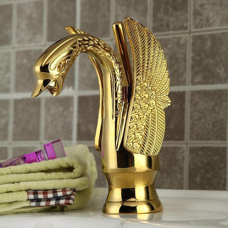 Badezimmerhahnbecken Faucet_Fashion Golden Swan Wasserhahn Grohandel Europischen Single Hole Sanitr Kupfer Becken Wasserhahn