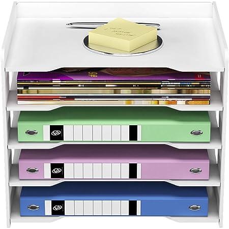 PUNCIA 5Tier Office Paper Organizer for Desk Desktop File Holder Desk Letter Tray & A4 Paper Holder Document Storage Rack for Home Office School
