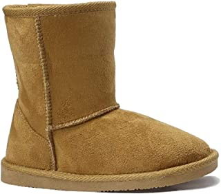 New Kids Classic Snow Boots Suede Faux Fur Fashion Buckle Boots Outdoor Shoes(Toddler/Little Kid/Big Kid)