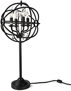 LALUZ A03131 Industrial Lamp Orb Desk Light with Crystals for Bedroom, Living Room, Dressing Table