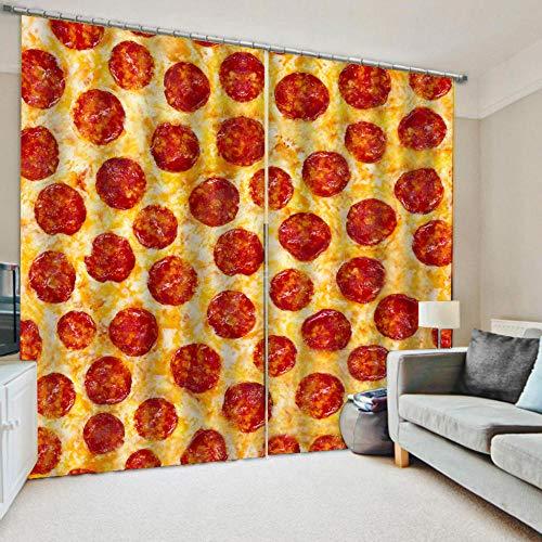 Verdunkelungsvorhang 150X166Cm, Für Kinderzimmer & Wohnzimmer Rollo Vorhänge Thermovorhang - Pizza