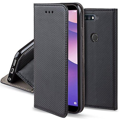 Moozy Hülle Flip Hülle für Huawei Y7 Prime 2018, Huawei Nova 2 Lite, Schwarz - Dünne Magnetische Klapphülle Handyhülle mit Kartenfach & Standfunktion