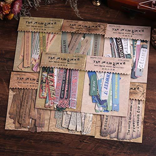 Lychii Scrapbooking Stickers, 480pcs Dekoration Papier Aufkleber, Vintage Design Klebstoffe Aufkleber für Craft Scrapbook Album, Kalender Planer, DIY, Bullet Journal