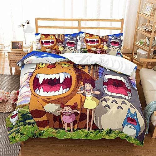 REALIN Funda Nórdica Totoro Juego De Ropa De Cama Animal De Dibujos Animados Anime Colcha 2/3/4PCS Fundas De Edredón Nórdico/Almohada/Sábanas,para Cama 90/135/150/180 (Cama 135/140(200×200cm)-3PCS,A)