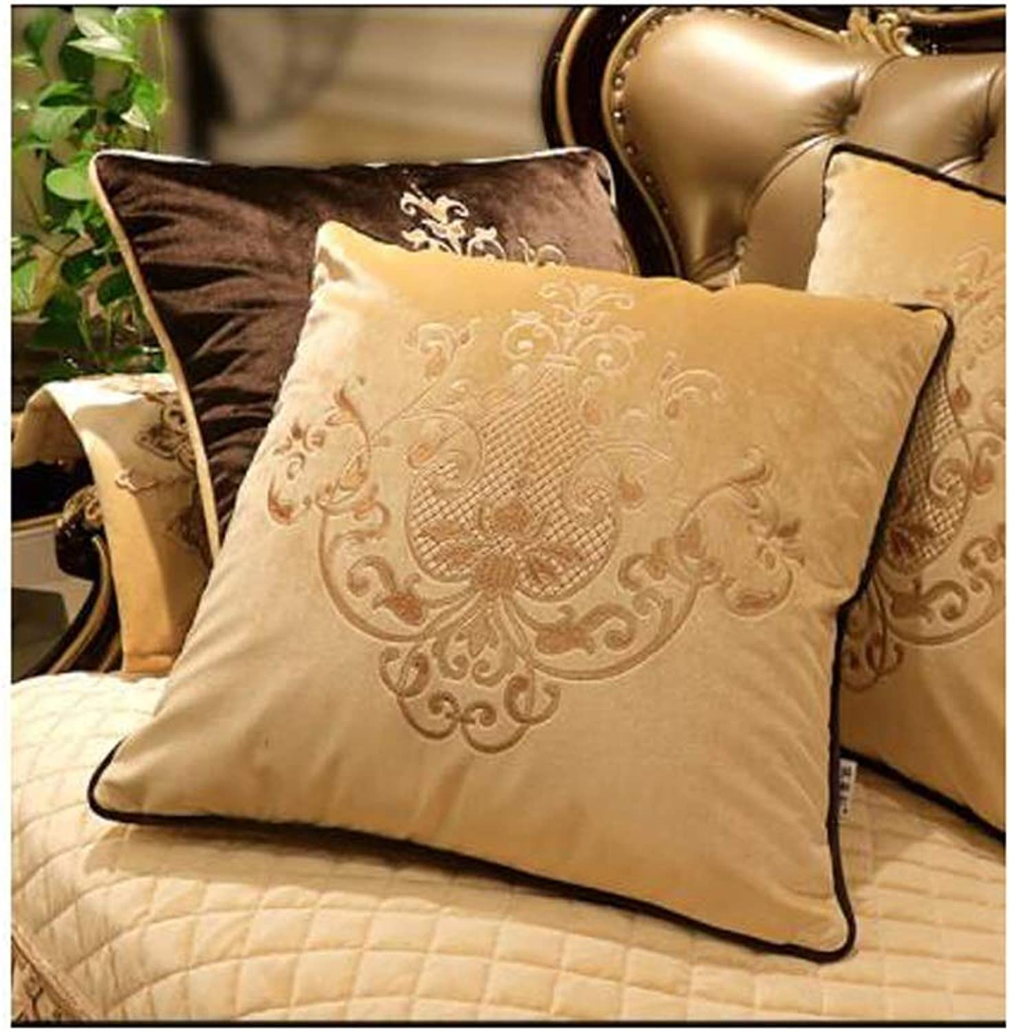 Pillow Sofa Pillow Cushion Living Room Embroidery Office Pillow Bed Backrest Cover Household Large Core QYSZYG (color   Brown, Size   60CM60CM)