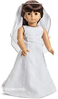"Pretty in White Dress, Tiara and Veil - fits 18"" American Girl Dolls"