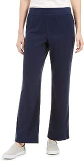Petite Classic Pull-On Fleece Pants,Size PL Navy