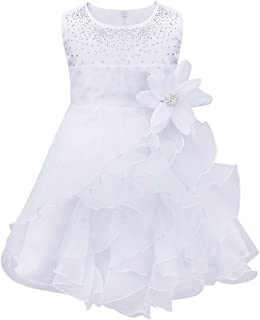 90b9927542969 TiaoBug Bébé Fille Robe de Baptême Princesse Tutu sans Manche Fleur Robe  Soirée Cérémonie Mariage 3