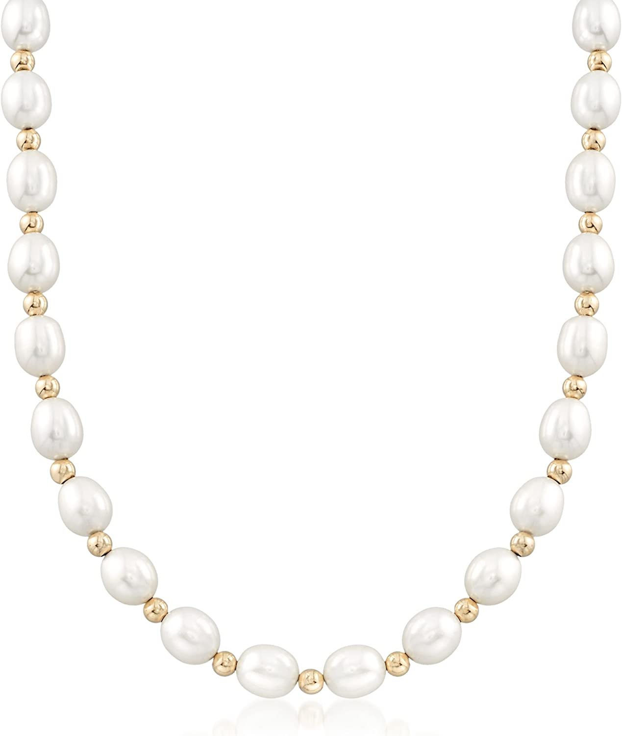 Ross-Simons 8-9mm Cultured Oval Pearl Necklace With 14kt Yellow Gold