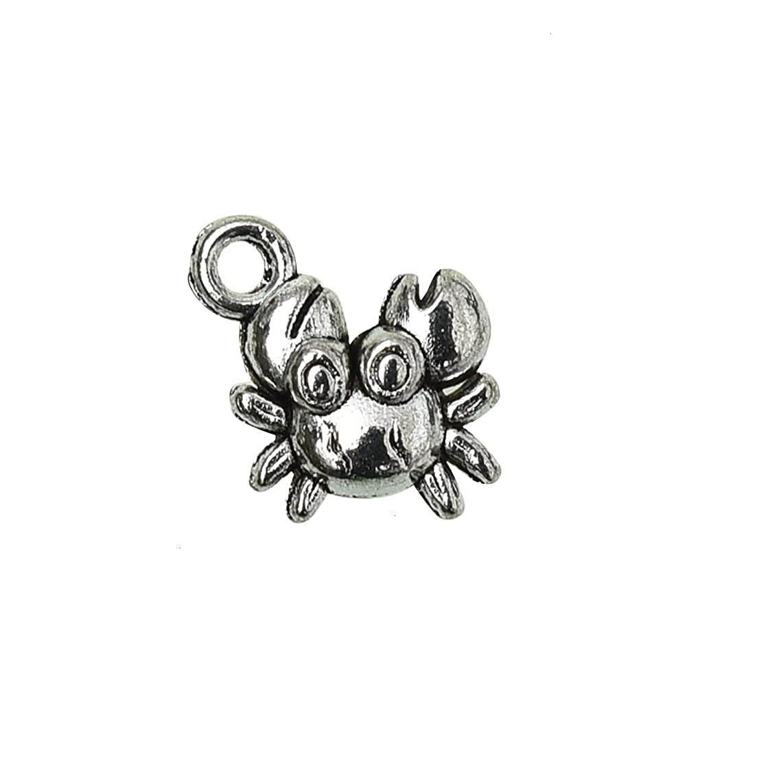 Monrocco 50PC Crab Charms Pendants Ocean Charms for DIY Jewelry Making Bracelets Crafting Necklace 12x12mm (Antiqued Silver)