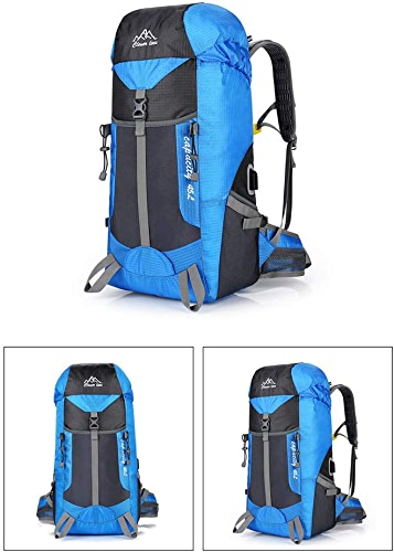 Sac à Dos d'Alpinisme, 45L Tissu De Nylon Interface Externe Usb Pratique Curseur Inversé Sifflet De Sauveteur être Applicable Alpinisme Voyager à Pied Sac De Sport En Plein Air Défi Extrême,bleu