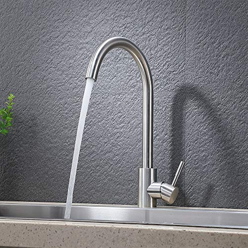 VAPSINT 360 Degree Swivel Good Valued Modern Hot& Cold Mixer Stainless Steel Single Handle Brushed Steel Bar Kitchen Sink Faucet, Easy Installation Brushed Nickel Kitchen Faucet