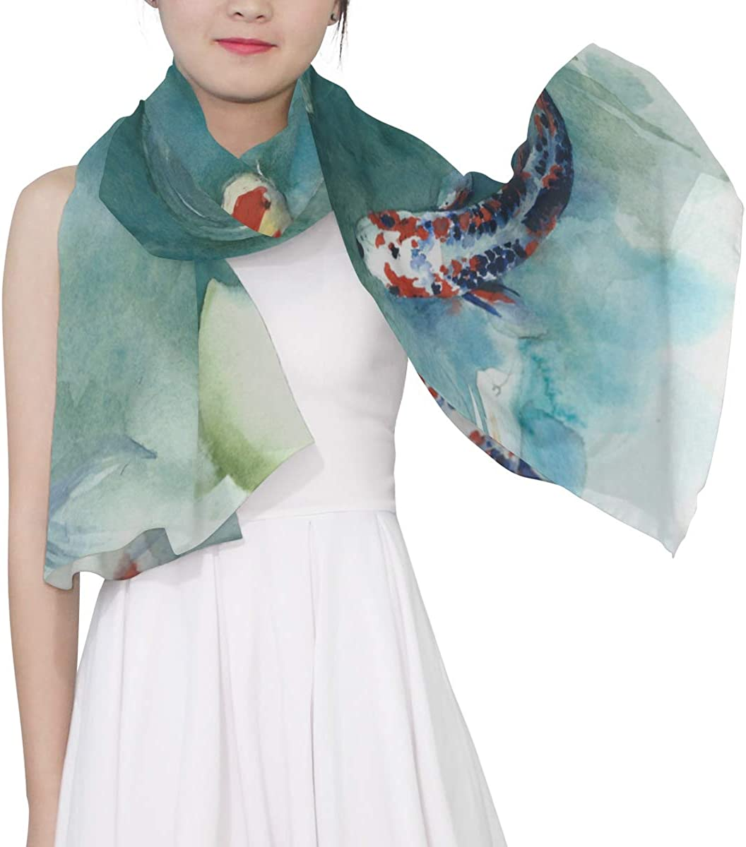 Auspicious Koi Painting Unique Fashion Scarf For Women Lightweight Fashion Fall Winter Print Scarves Shawl Wraps Gifts For Early Spring