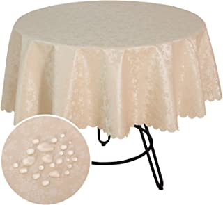 smiry Round Waterproof Tablecloth - Stain-Proof Oil-Proof Vinyl Table Cloth Washable Floral Pattern Table Cover for Kitchen and Dining Room - Beige, 60