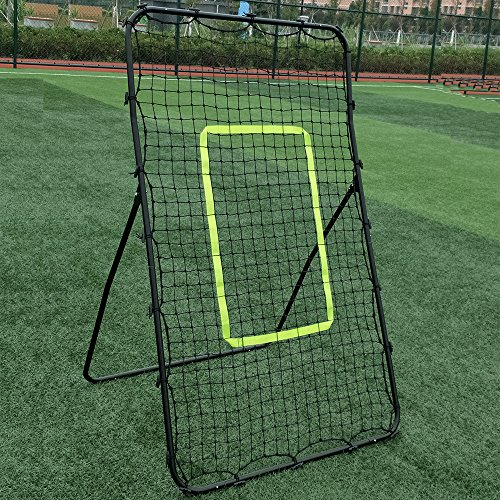 Festnight Professional Galvanized Steel Pipe Rebound Soccer Baseball Goal Black