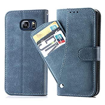 Asuwish Galaxy S6 Wallet Case,Leather Phone Cases with Credit Card Holder Slim Kickstand Stand Shockproof Rugged Flip Folio Protective Cover for Samsung Galaxy S 6 6S GS6 Women Girls Men Blue