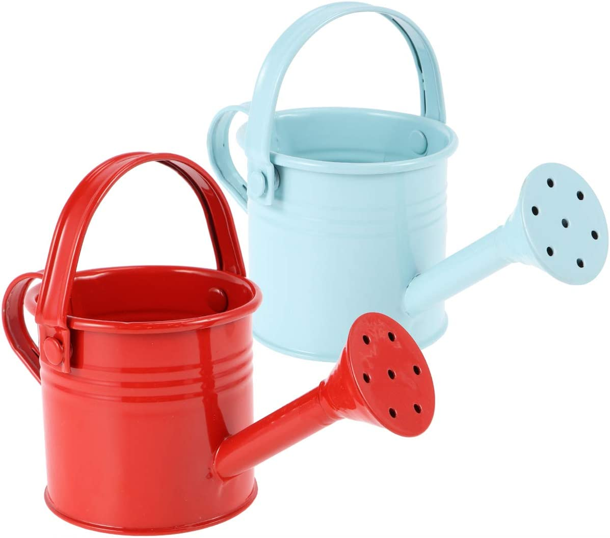 Hemoton Metal Watering Can, 2pcs Kids Watering Can, Children Garden Watering Bucket Iron Watering Tin Can Sprinkling Kettle Kettle for Garden Home Plants Flower (5.9x2.95x2.95 Inches)