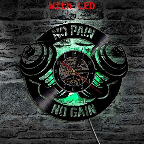 fdgdfgd Klassische CD-Aufnahme No Pain No Gain Gym Sport Vinyl Uhr Dekoration | Farbwechselnde Uhr Coole Dekoration