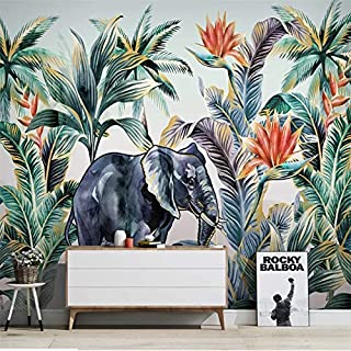 Large Wallpaper Custom 3d wallpaper mural hand-painted Nordic forest animal tropical plant landscape wall - high-grade wat...