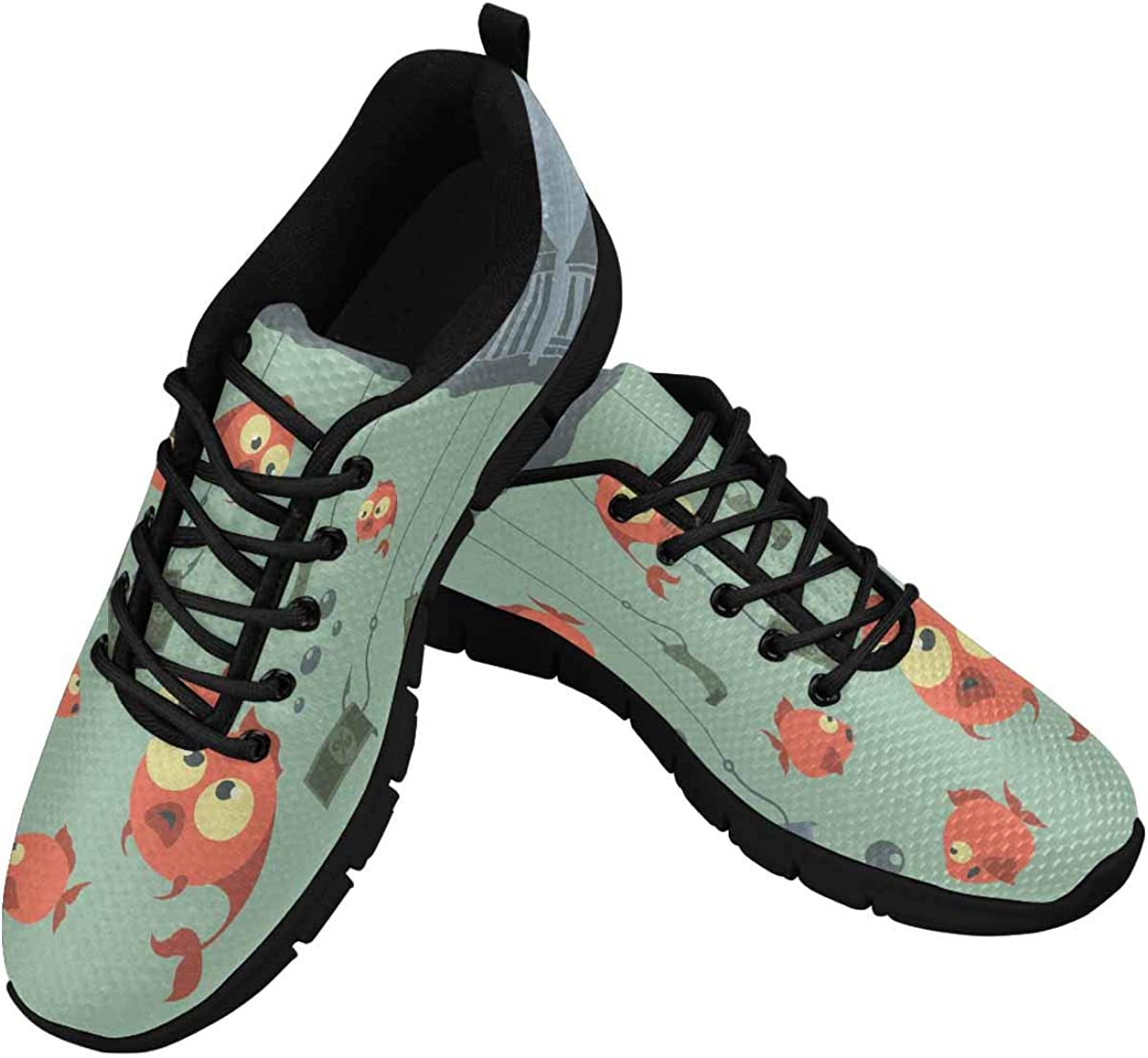 INTERESTPRINT Fishing Background Lightweight Mesh Breathable Sneakers for Women