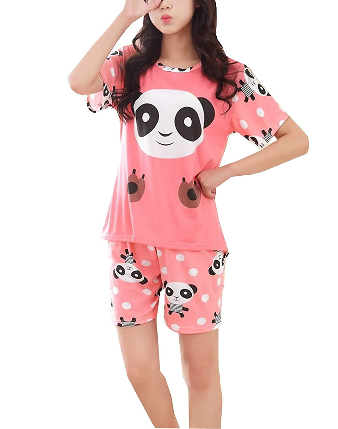 Teen Big Girls Summer Shorts Pajama Cute Panda Sleepwear