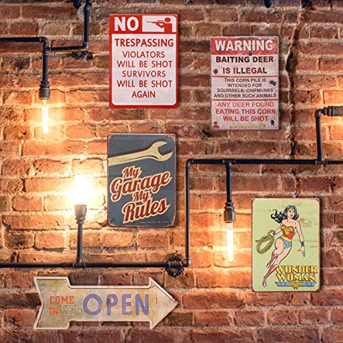 HANTAJANSS Warning Signs Retro Metal Signs 12 X 8 Inches (Warning Sign)