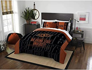 3pc NCAA Oklahoma State University Cowboys Comforter Full/Queen Set, Team Spirit, Black Orange, Fan Merchandise, Unisex, Team Logo, College Football Themed, Sports Patterned Bedding