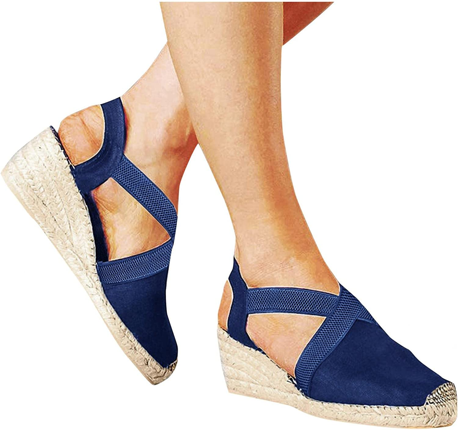 DONGXIEHYS Overseas parallel import regular item Women's Closed Toe Wedge Ankle Strap Cross Sandals Colorado Springs Mall El