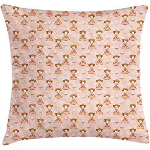 Funda de cojín Queen Throw Pillow, Royalty Girl Tetera Princess Princess Patrón...