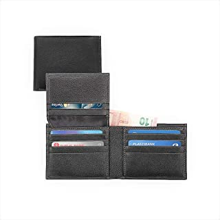 Genuine Leather Bi-Fold Wallet For Men, Black | Large Capacity Anti Theft security purse with ID Window | Slim Credit Card...