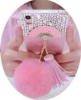 Diamond Fan Hair Ball Leather Pendant for iPhone X 5S SE 5C 6 6S Plus 7 8 Plus,1,7G 8G 4.7inch