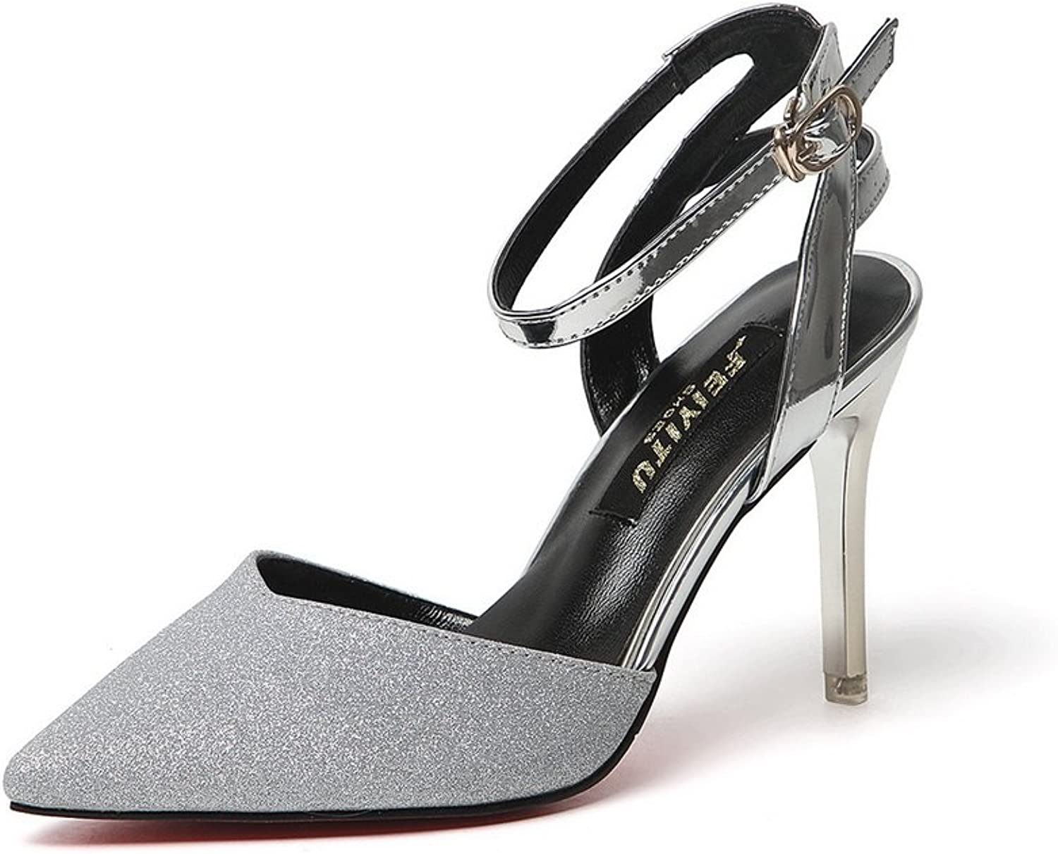1TO9 Womens Spikes Stilettos Pointed-Toe Ankle-Wrap Silver Patent-Leather Pumps shoes - 7 B(M) US