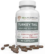 Organic Turkey Tail Mushroom Extract Capsules by Real Mushrooms - Immune Booster - 90 Capsule Supplement