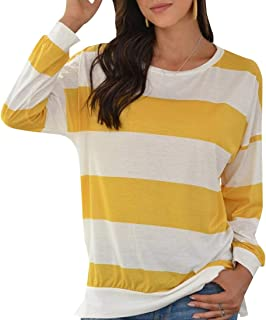 GAGA Womens Long Sleeve T Shirt Women Striped Tee Crew Neck Wide Stripes Tops Casual