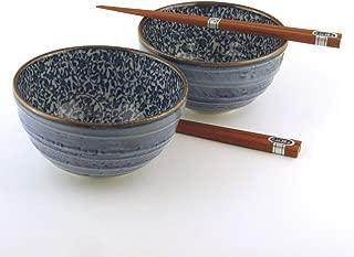 Japanese Kyo Karakusa Bowl And Chopsticks Set includes 2 Bowls and 2 Sets of Chopsticks