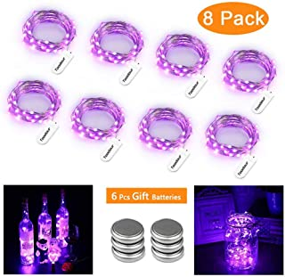 Toodour 8 Pack Purple Halloween Lights, Battery Operated Fairy Lights 30 LED 9.8ft Silver Wire String Lights for Halloween Decoration DIY, Wedding, Party Decor