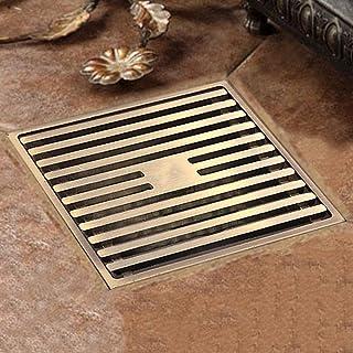 浴室下水道のための平方床漏れグリルシャワーグランド排水路大型ディスプレイスメント防御カバー-ブロンズ