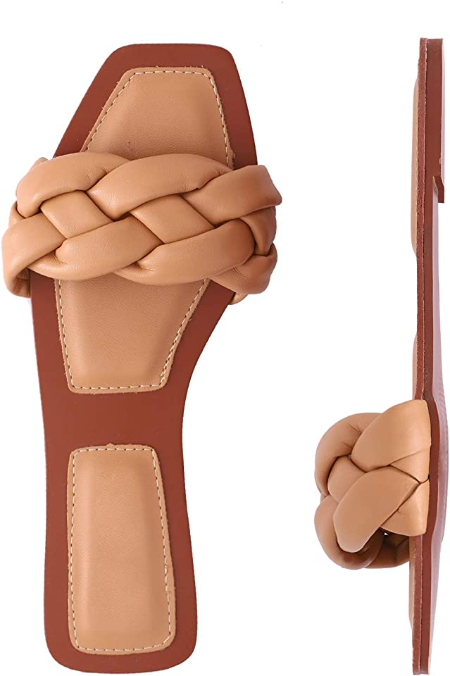 depdream Women's Open Square Toe Flat Sandals Slip On Mule Slipper Casual Shoes