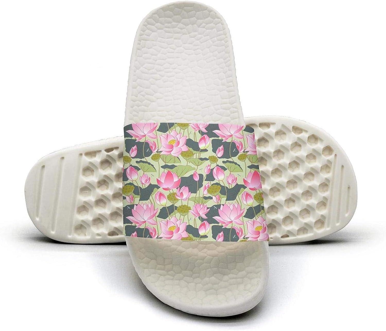 Beautiful Women Blooming Lotus Flowers Slip on Beach Sandals and Anti-Slip Shower Slipper Comfort Sandals