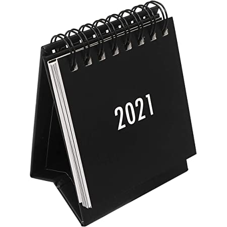 Black Ciujoy Desk Calendar Mini Stand Up Table Calendars 2020.09-2021.12 Double Ring Metal Ring Portable Calendar for Home Office School Monthly Calendar with Stickers