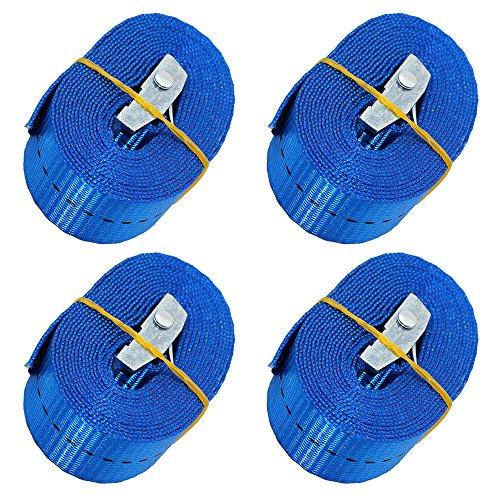 BlueCosto CSTOM 2/4 Stück Spanngurt Zurrgurt Lashing Strap mit Klemmschloss Schnellverschluss (4 Stück(2.5m x 25mm_250Kg_Blau))