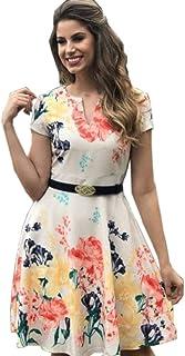 Vestido Montaria Fashion Rubia curto evasê bege mangas curtas com bolso