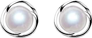 925 Sterling Silver Pearl Stud Earrings Women Fashion...