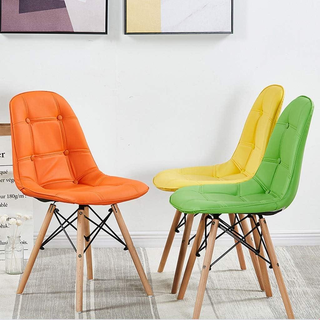 CUIS- Chaise d'appoint DSW, chaises de salle à manger, pieds en PU rembourrés et en bois, sans bras, for cuisine de salle à manger (Color : Green) Green