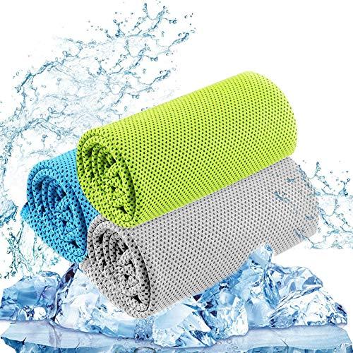 【3枚セット】冷却タオル、アイスタオル、柔らかい通気性の冷たいタオル、ヨガ、スポーツ、ランニング、ジム、ワークアウト、キャンプ、フィットネス、ワークアウトなどのアクティビティ用のマイクロファイバータオル(30x100cm)